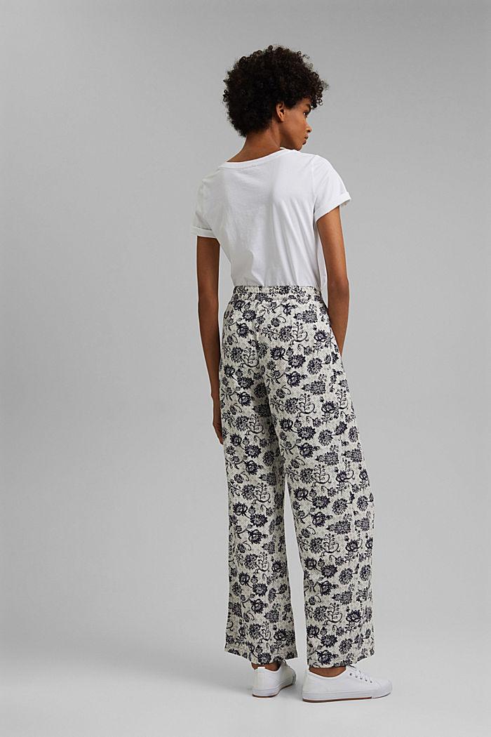 Soepele broek met print en wijde pijpen, NAVY, detail image number 3