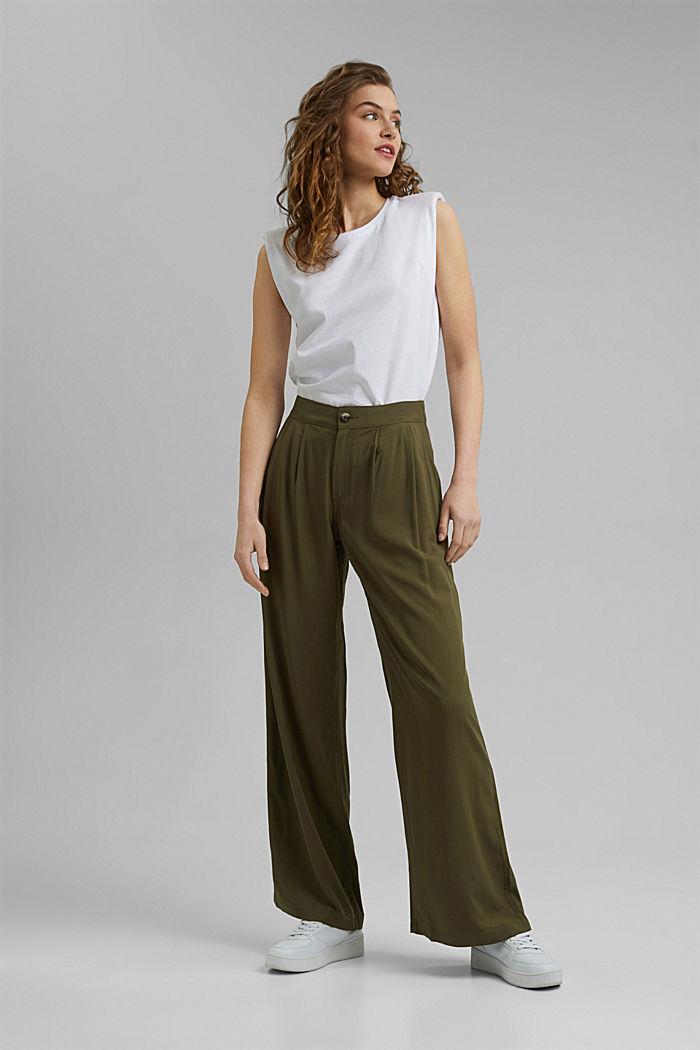 Pantalon ample à ceinture élastique, KHAKI GREEN, detail image number 1