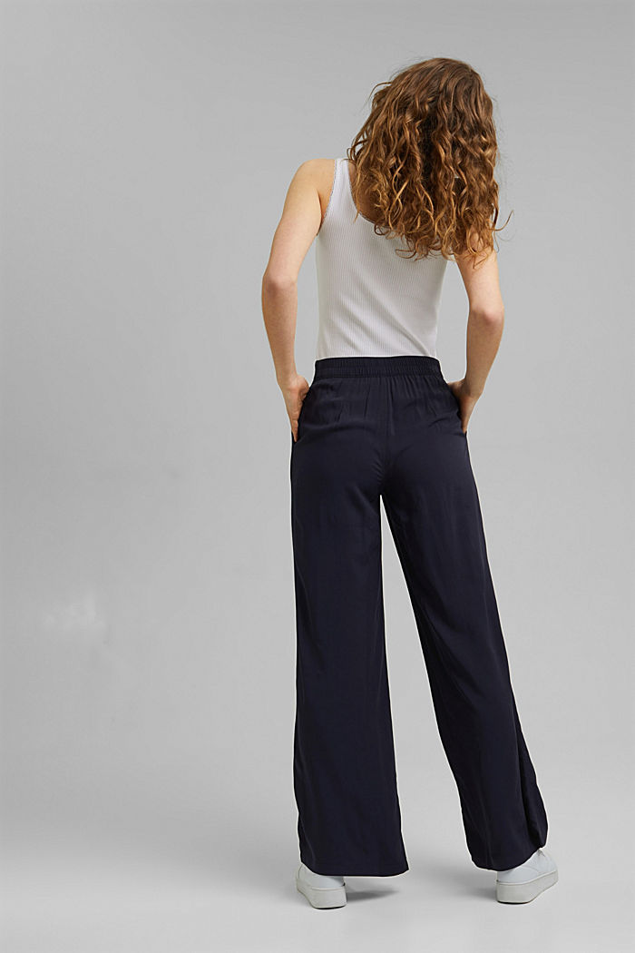 Wide trousers with an elasticated waistband, NAVY, detail image number 3
