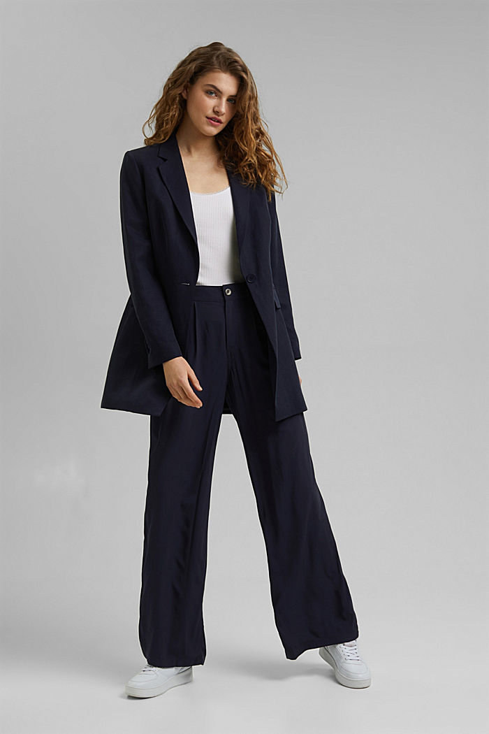 Wide trousers with an elasticated waistband, NAVY, detail image number 1