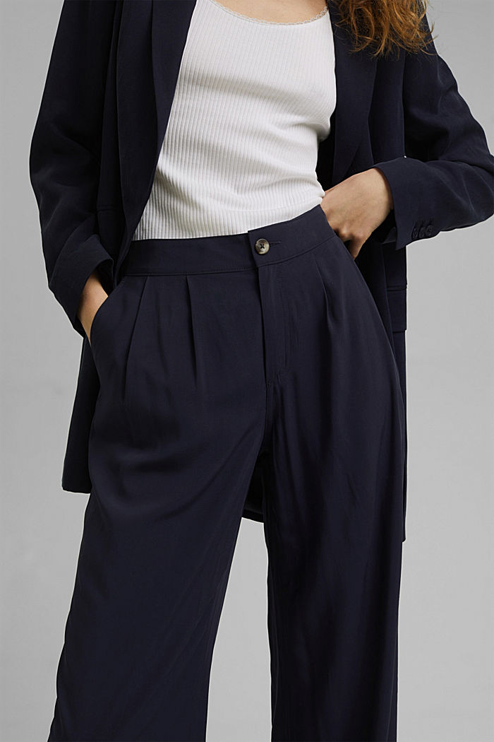 Wide trousers with an elasticated waistband, NAVY, detail image number 2