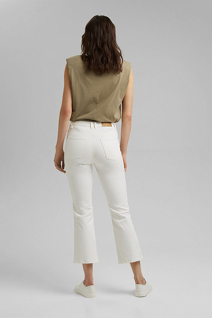 Stretch trousers with a flared leg, OFF WHITE, detail image number 3