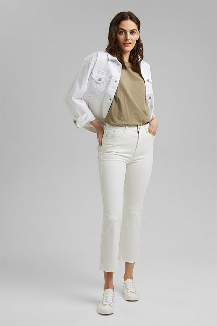 Stretch trousers with a flared leg, OFF WHITE, detail image number 1