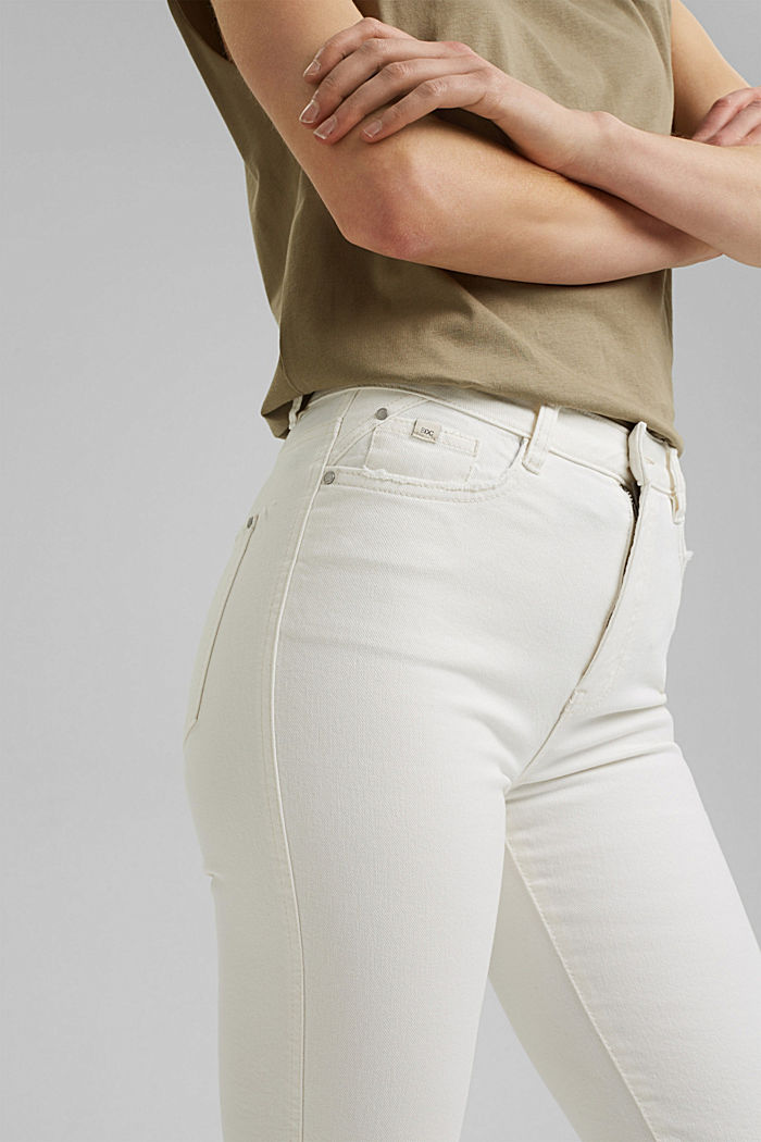 Stretch trousers with a flared leg, OFF WHITE, detail image number 2
