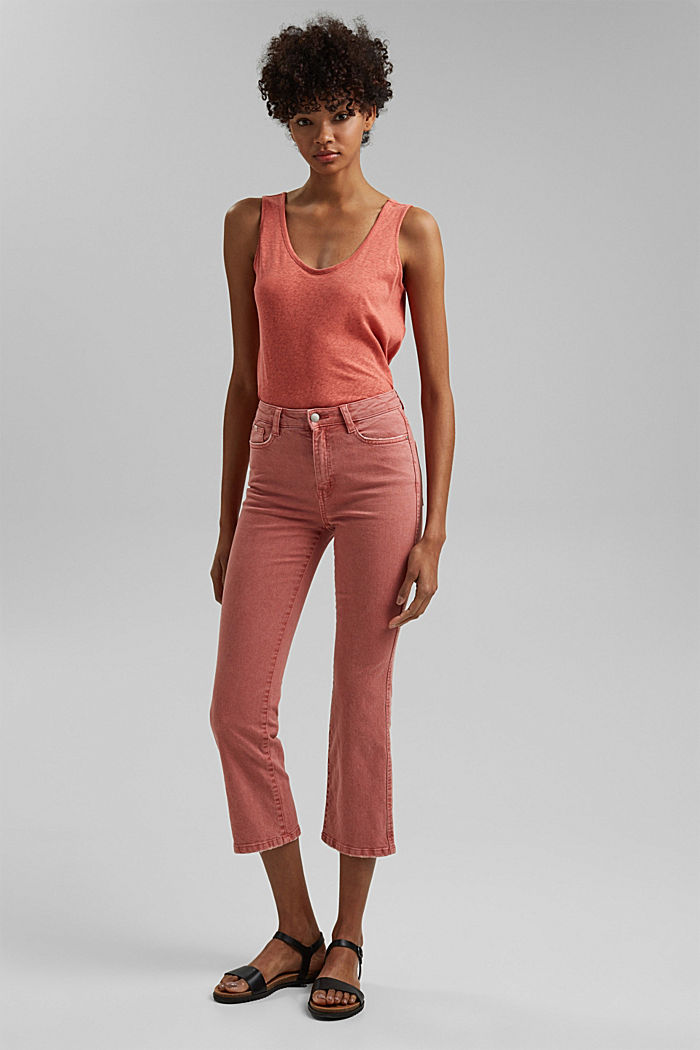 Stretch trousers with a flared leg, CORAL, detail image number 1