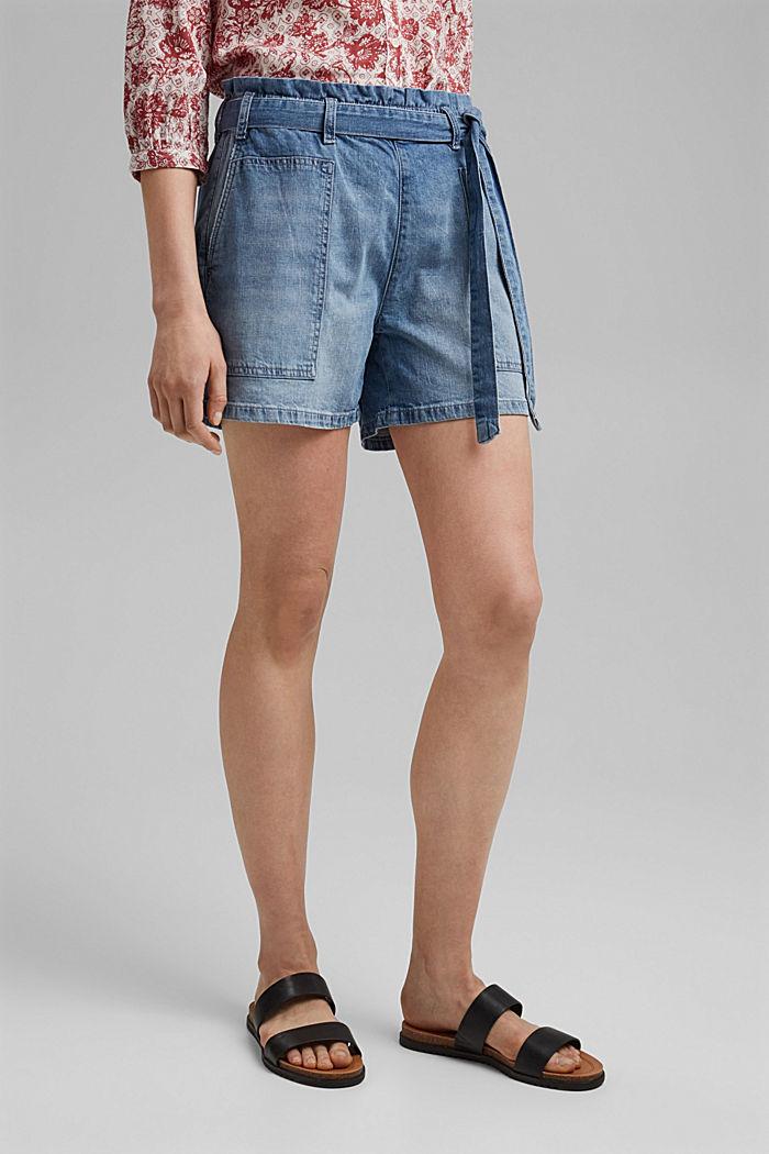 Linen blend: denim shorts in a paper bag style, BLUE LIGHT WASHED, detail image number 0
