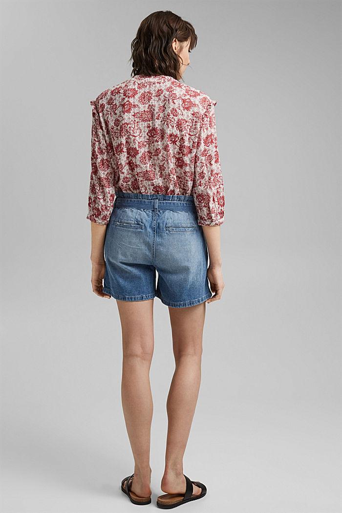 Linen blend: denim shorts in a paper bag style, BLUE LIGHT WASHED, detail image number 3