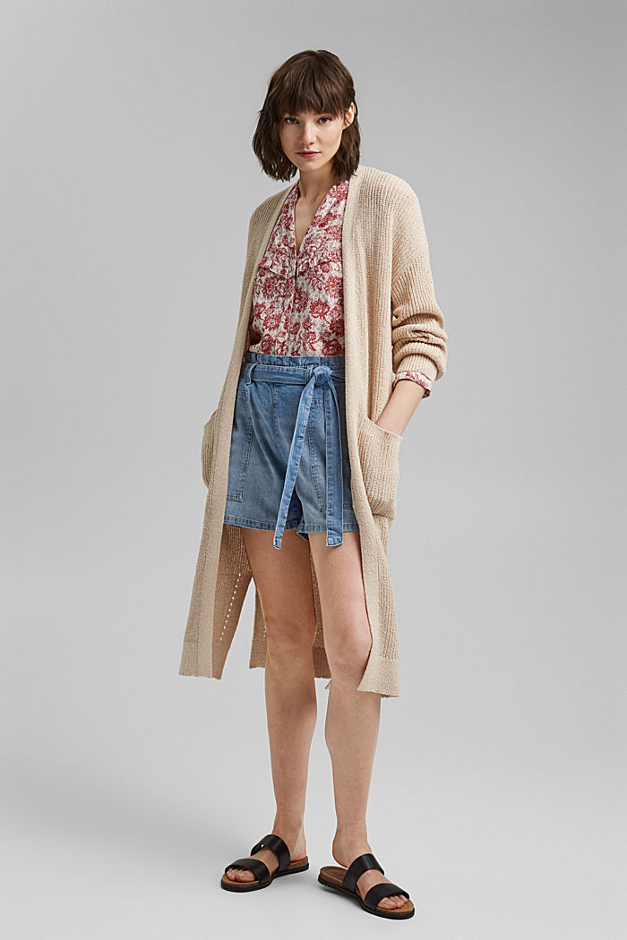 Linen blend: denim shorts in a paper bag style, BLUE LIGHT WASHED, detail image number 1