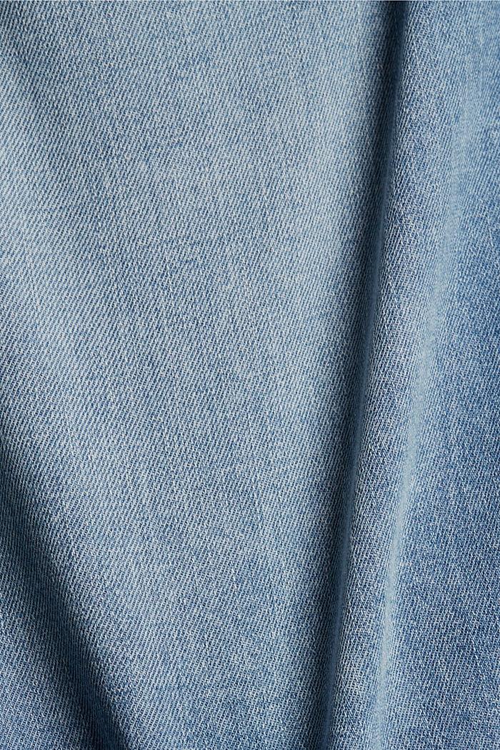 Linen blend: denim shorts in a paper bag style, BLUE LIGHT WASHED, detail image number 4