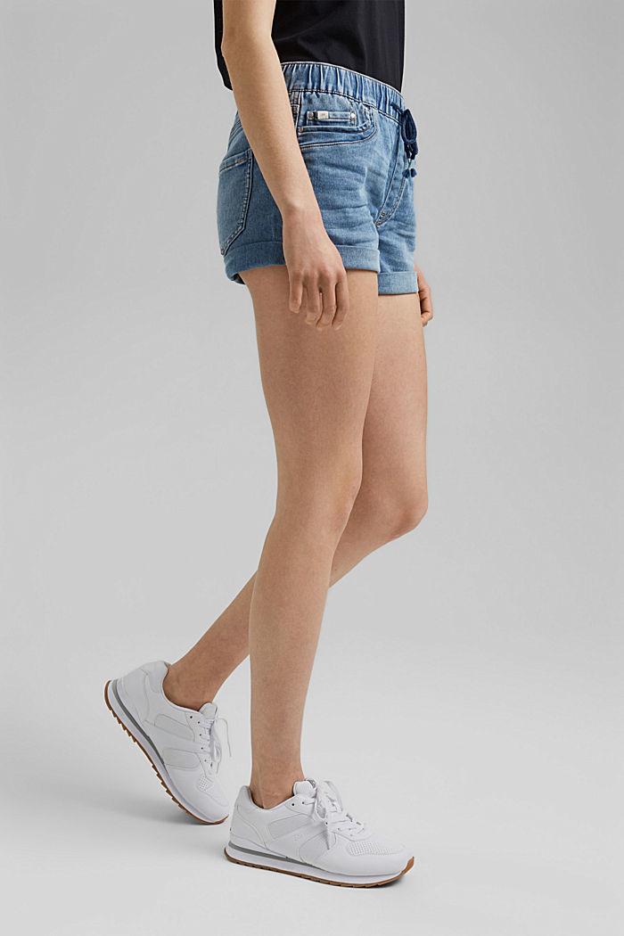 Jeans-Shorts in Jogger-Qualität, BLUE LIGHT WASHED, detail image number 0