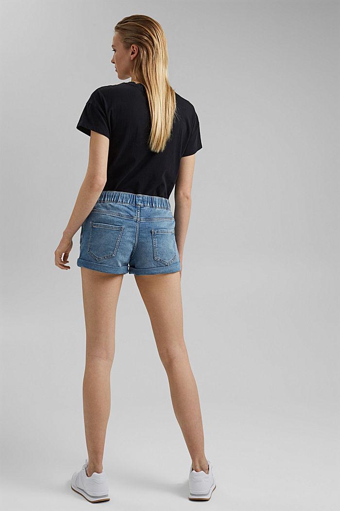 Jeans-Shorts in Jogger-Qualität, BLUE LIGHT WASHED, detail image number 3