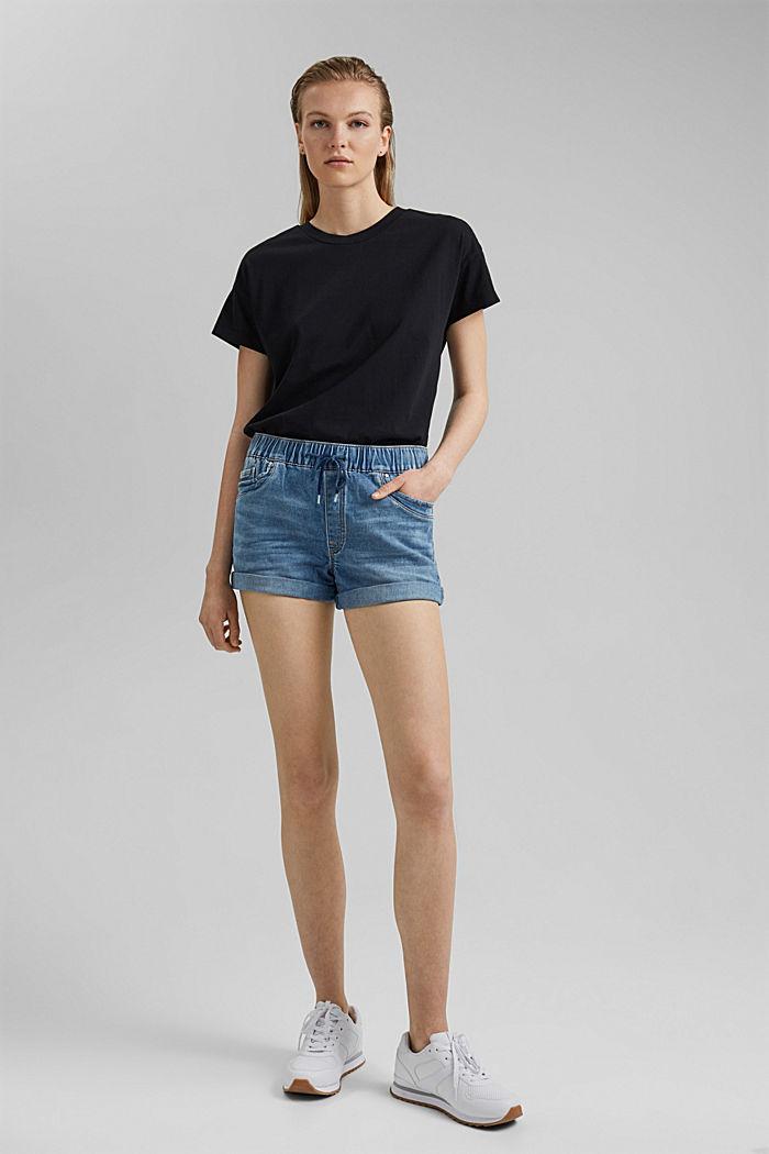 Jeans-Shorts in Jogger-Qualität, BLUE LIGHT WASHED, detail image number 1