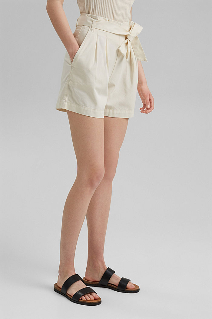 Paper bag shorts with belt, OFF WHITE, detail image number 0