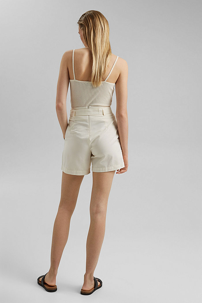 Paper bag shorts with belt, OFF WHITE, detail image number 3