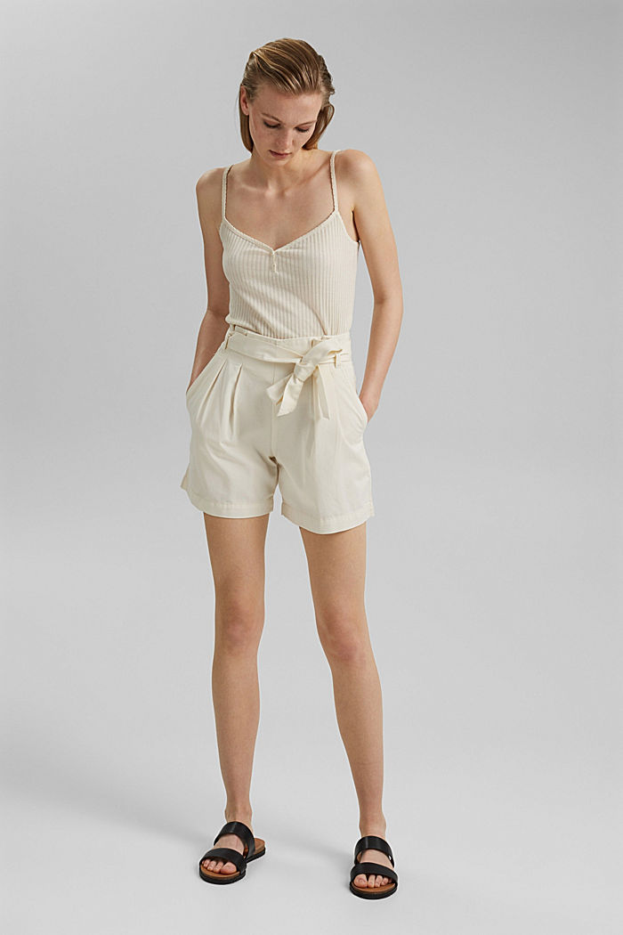 Paper bag shorts with belt, OFF WHITE, detail image number 1