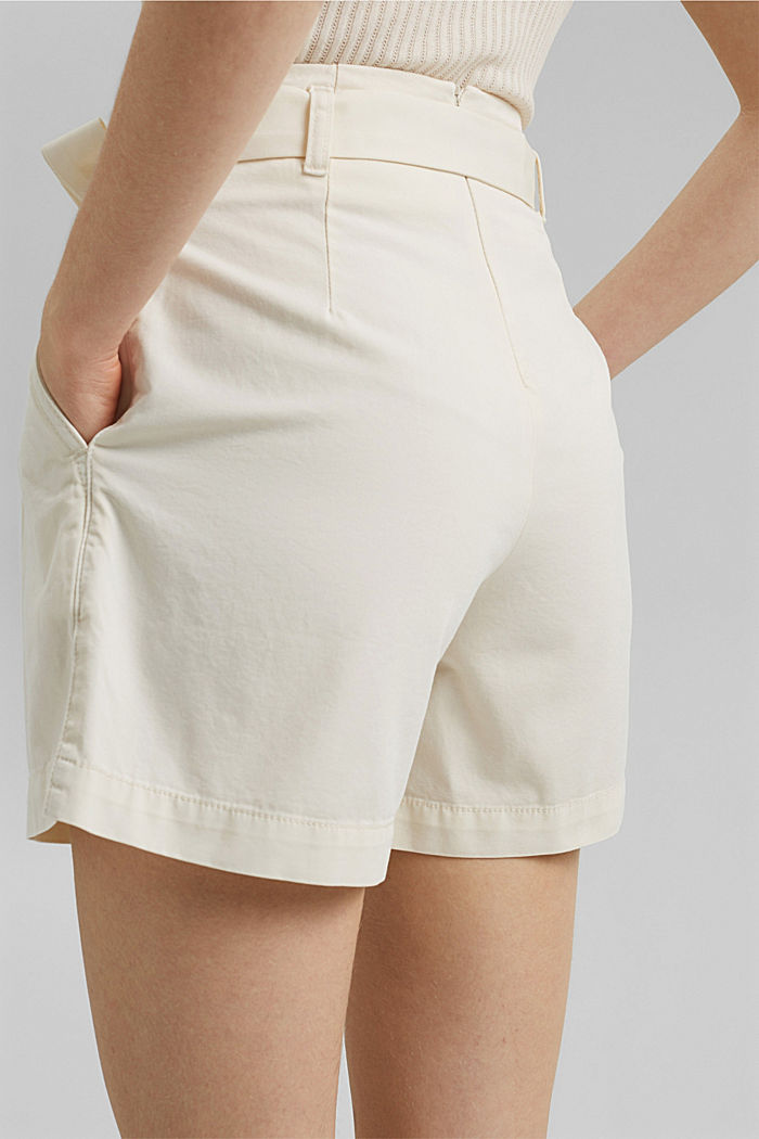 Paper bag shorts with belt, OFF WHITE, detail image number 5