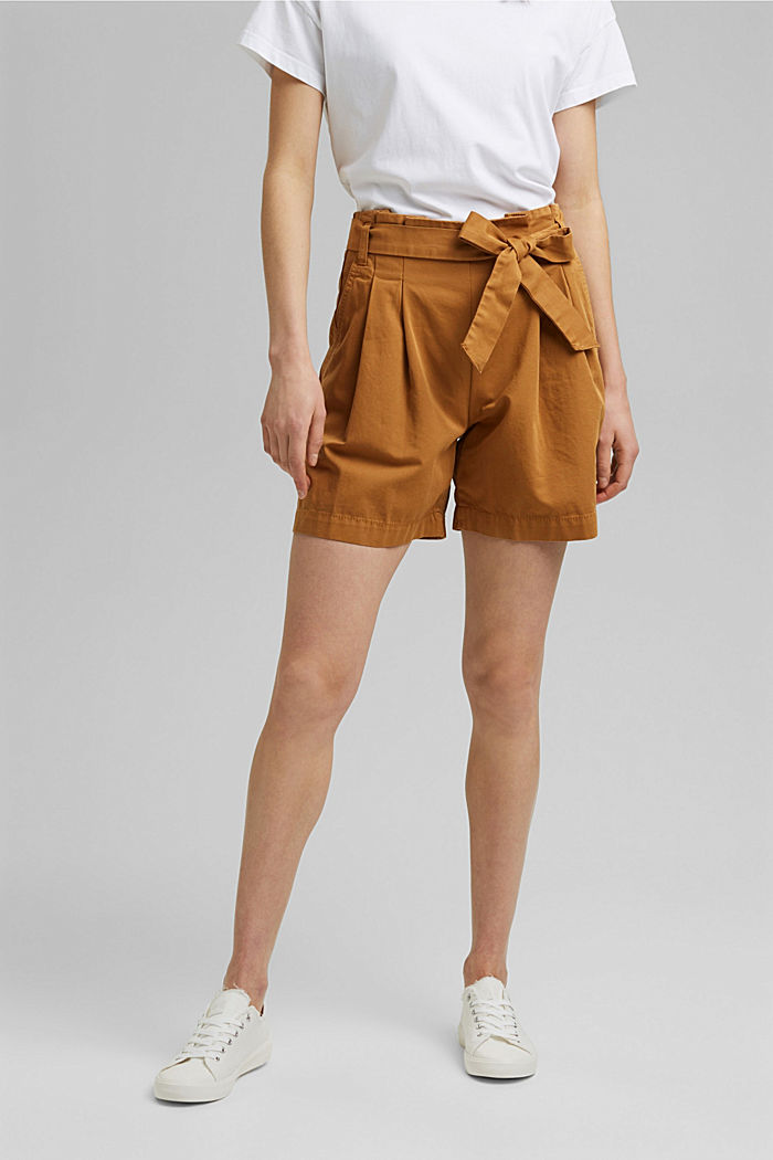 Paper bag shorts with belt, CARAMEL, detail image number 0