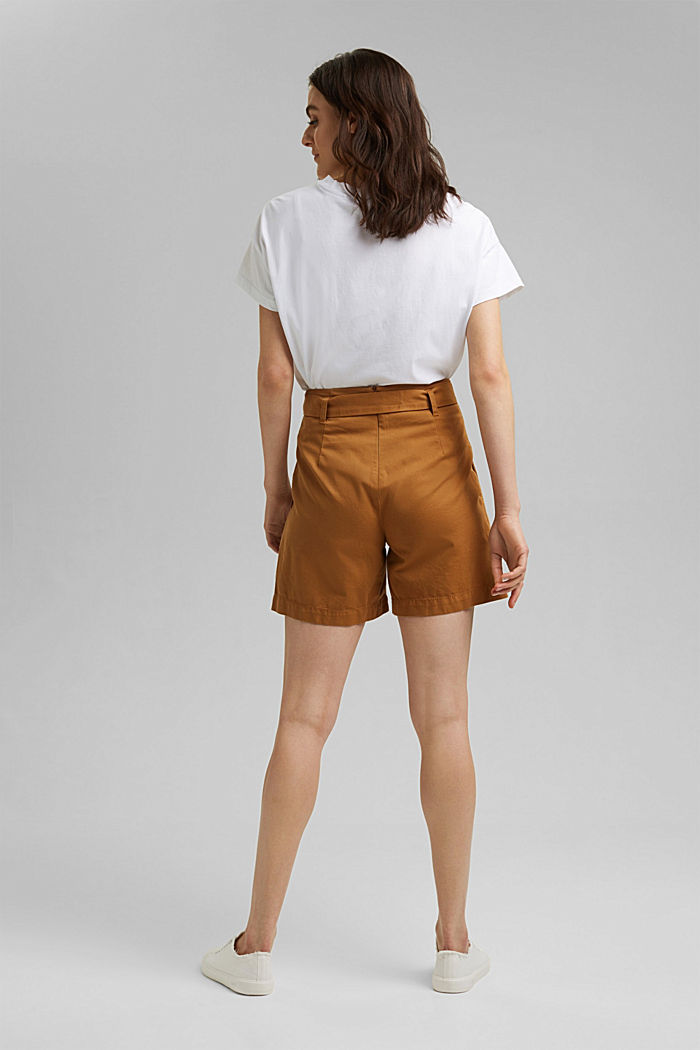 Paper bag shorts with belt, CARAMEL, detail image number 3