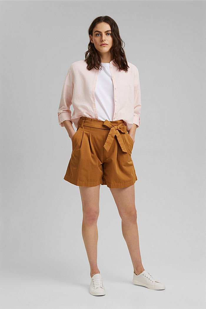 Paper bag shorts with belt, CARAMEL, detail image number 1