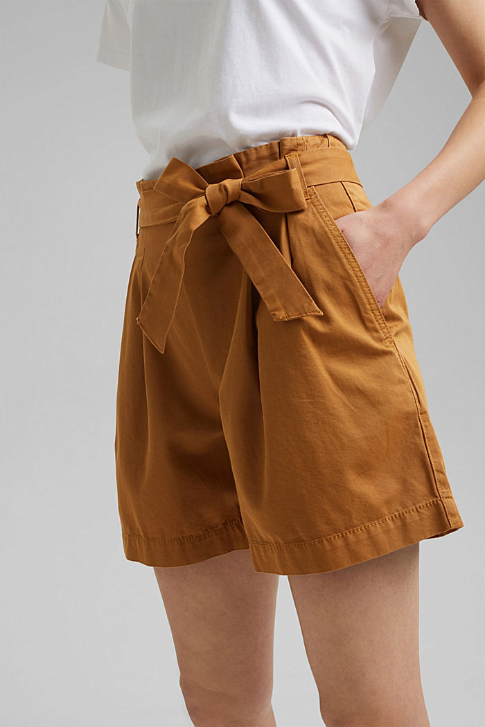 Paper bag shorts with belt, CARAMEL, detail image number 2