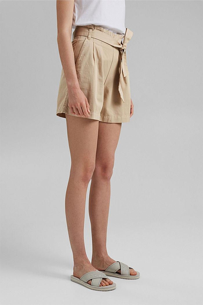 Paperbag-Shorts mit Gürtel, BEIGE, detail image number 0