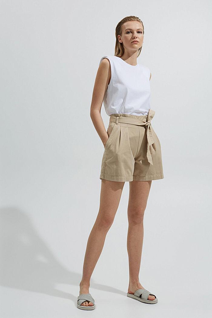 Paperbag-Shorts mit Gürtel, BEIGE, detail image number 1