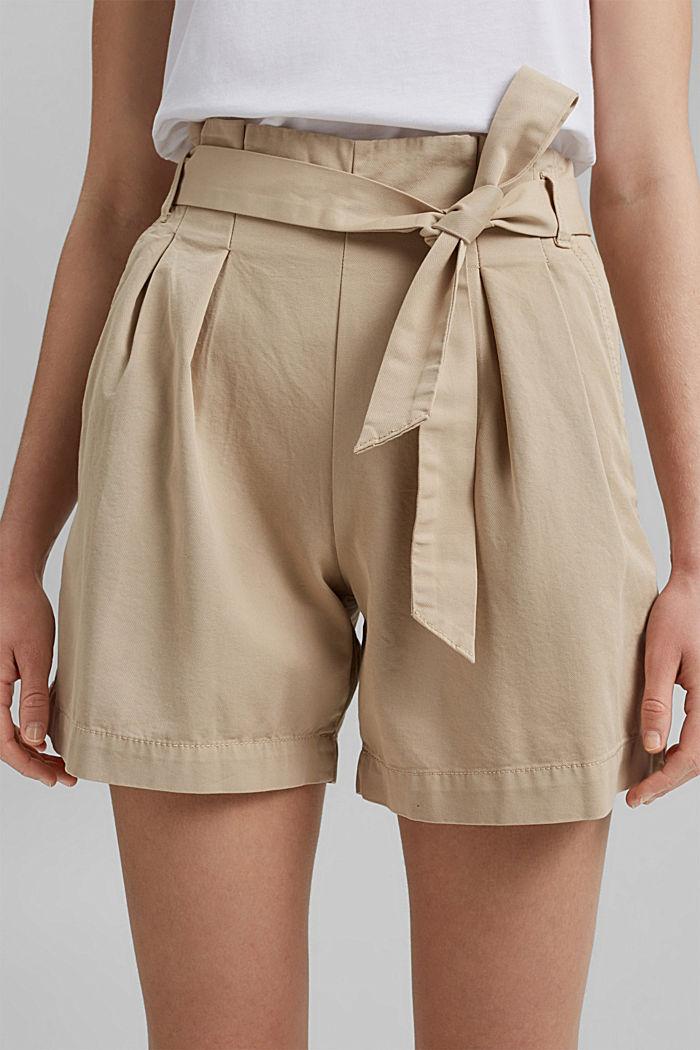 Paperbag-Shorts mit Gürtel, BEIGE, detail image number 2