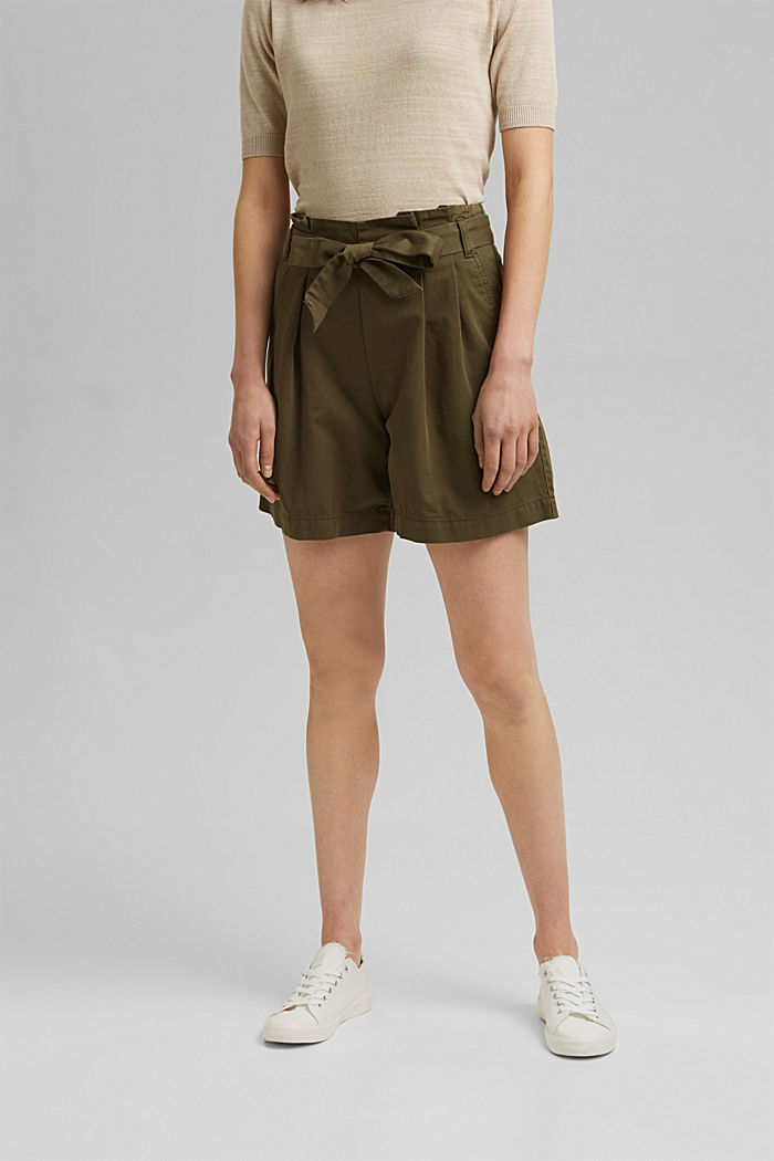 Paper bag shorts with belt, KHAKI GREEN, detail image number 0