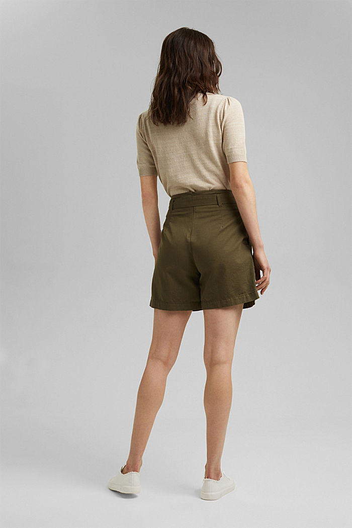 Paper bag shorts with belt, KHAKI GREEN, detail image number 3