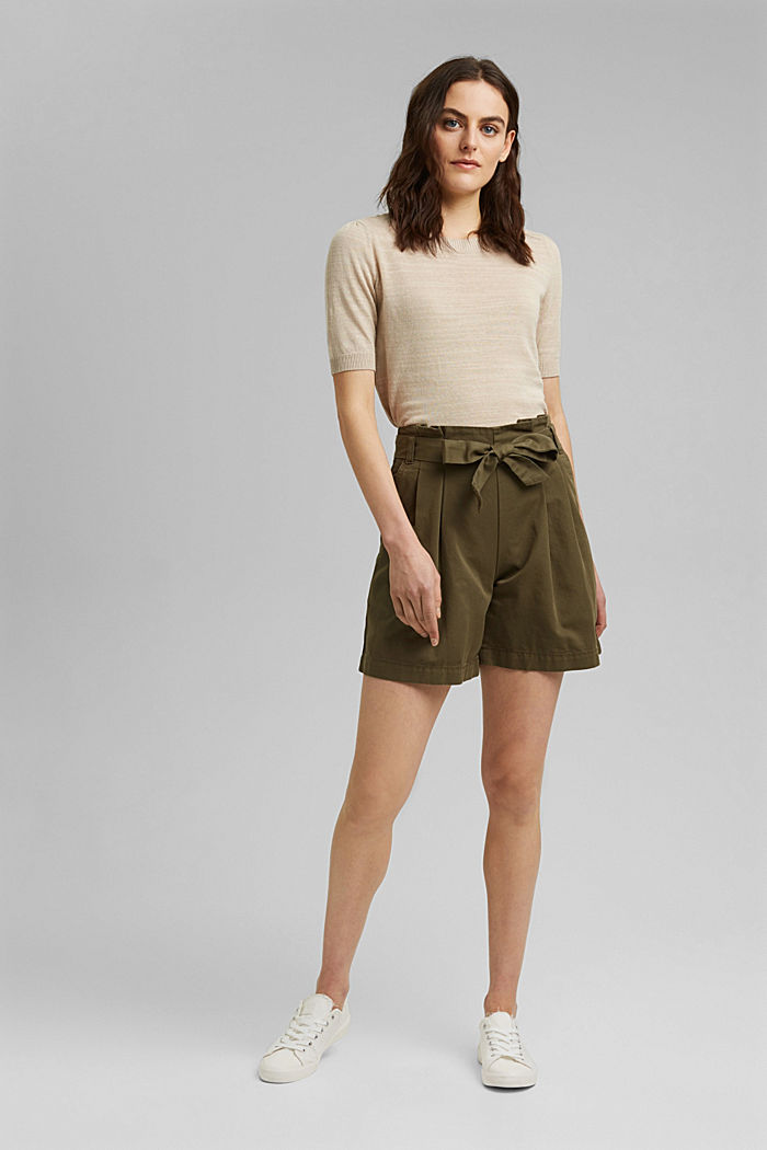 Paper bag shorts with belt, KHAKI GREEN, detail image number 1