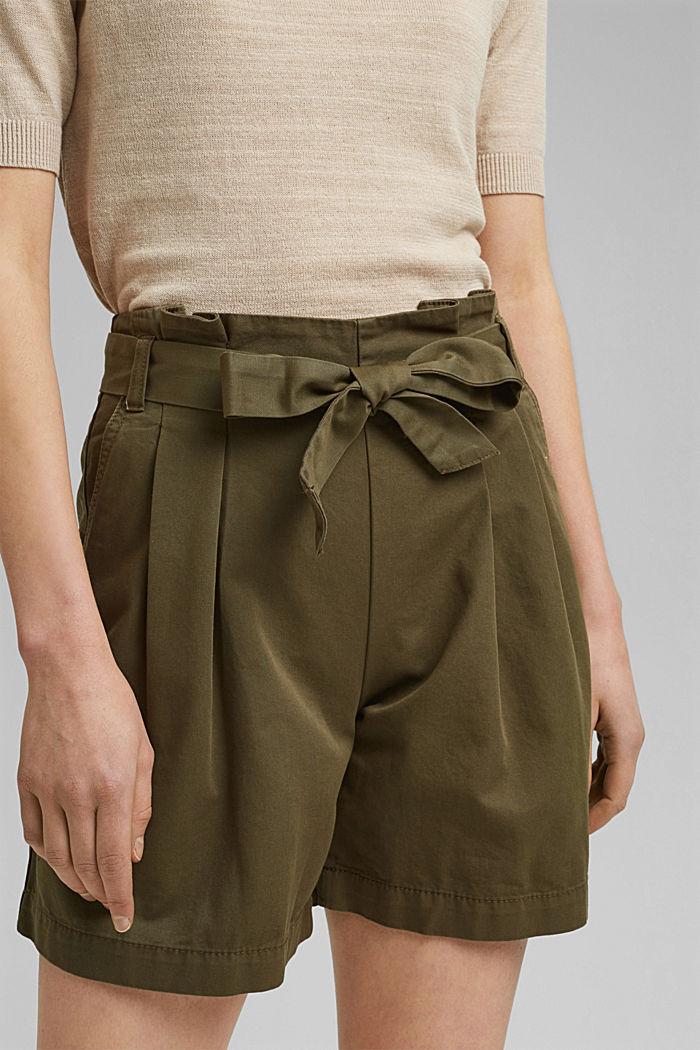 Paperbag-short met ceintuur, KHAKI GREEN, detail image number 2