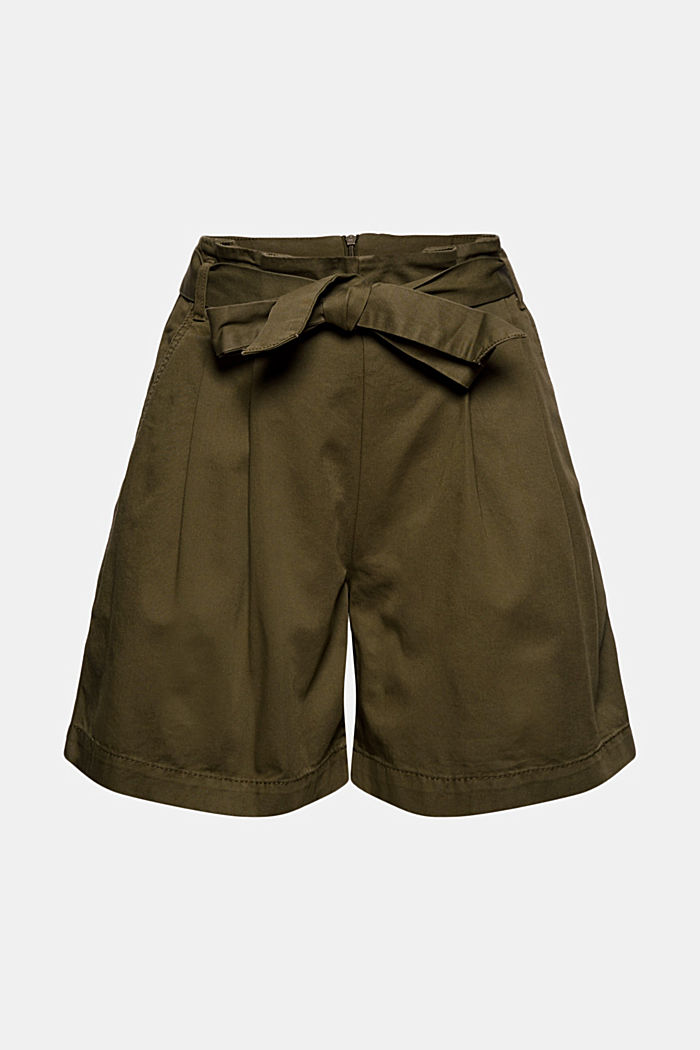 Paper bag shorts with belt, KHAKI GREEN, overview