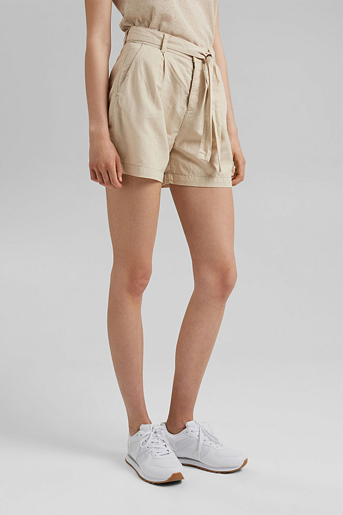 #ReimagineNaturalLifestyle: Blended linen shorts, BEIGE, detail image number 0