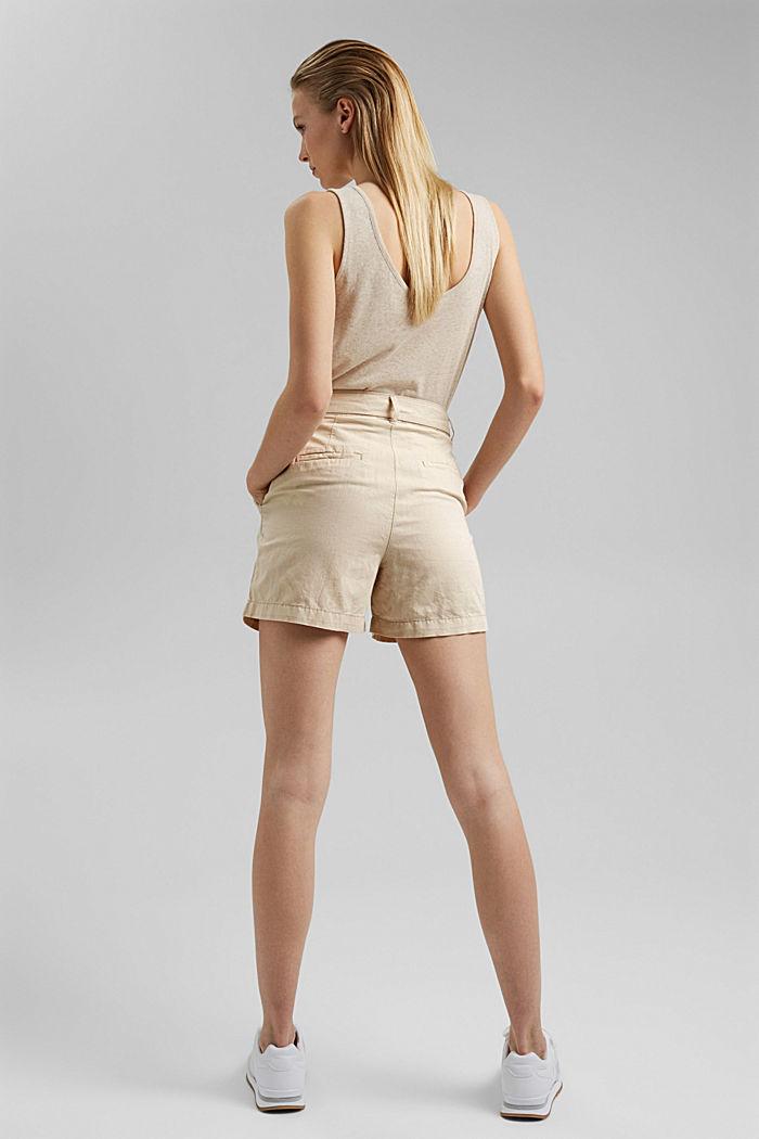 #ReimagineNaturalLifestyle: Blended linen shorts, BEIGE, detail image number 3