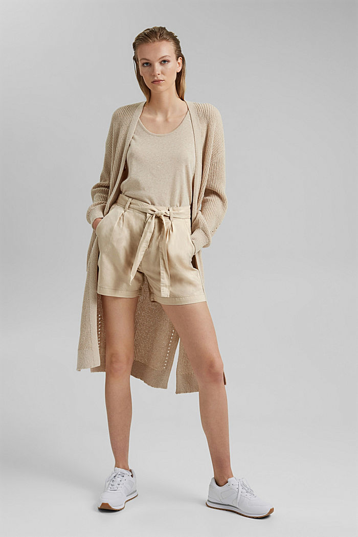 #ReimagineNaturalLifestyle: Blended linen shorts, BEIGE, detail image number 1