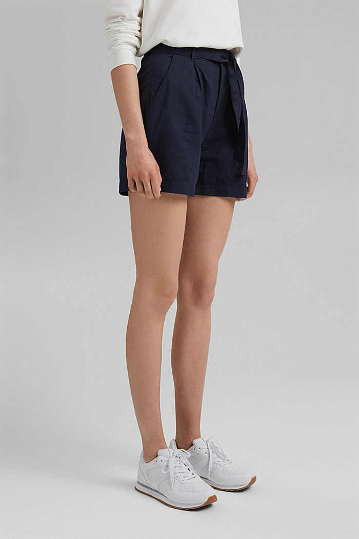#ReimagineNaturalLifestyle: short van een linnenmix, NAVY, detail image number 0