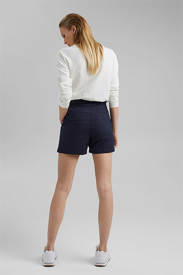 #ReimagineNaturalLifestyle: short van een linnenmix, NAVY, detail image number 3