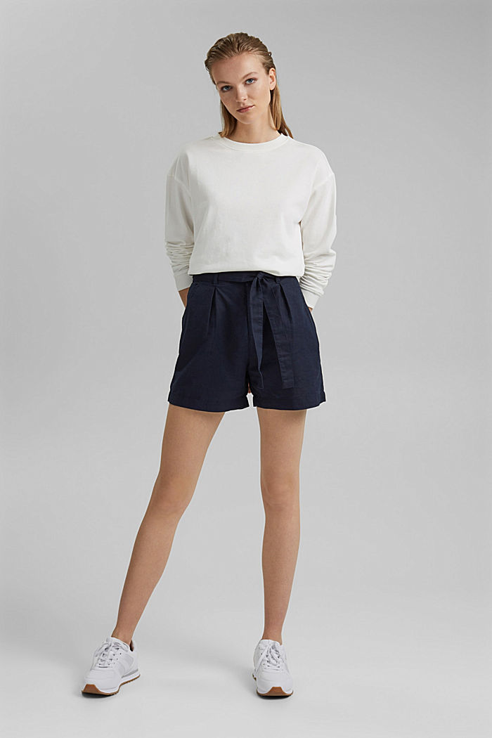 #ReimagineNaturalLifestyle: short van een linnenmix, NAVY, detail image number 1
