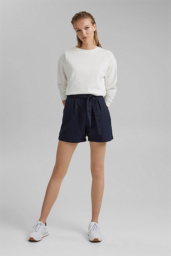 #ReimagineNaturalLifestyle: Blended linen shorts, NAVY, detail image number 1