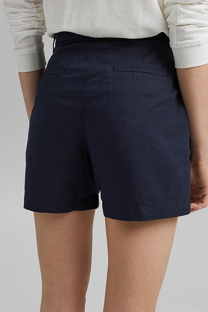 #ReimagineNaturalLifestyle: Blended linen shorts, NAVY, detail image number 2