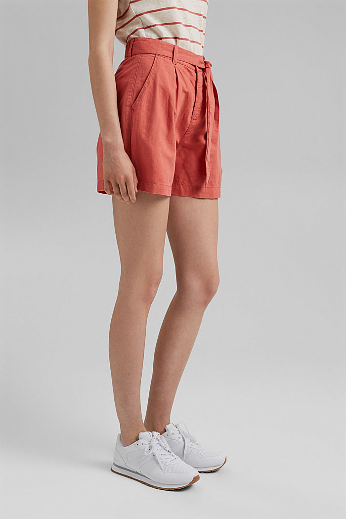 #ReimagineNaturalLifestyle: Blended linen shorts, CORAL, detail image number 0