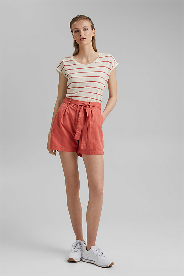 #ReimagineNaturalLifestyle: Blended linen shorts, CORAL, detail image number 1