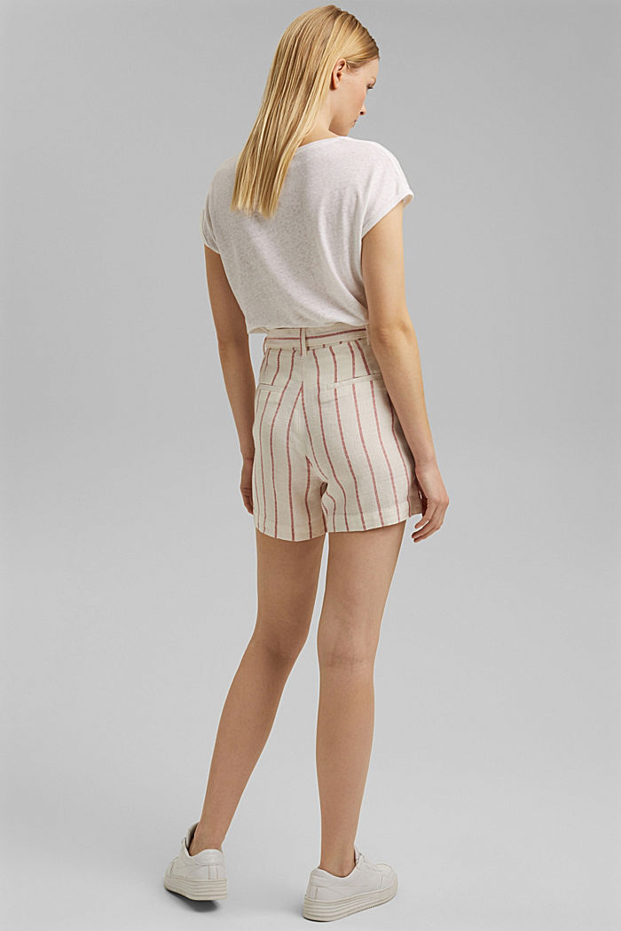 Linen blend: high-waisted shorts with belt, OFF WHITE, detail image number 3