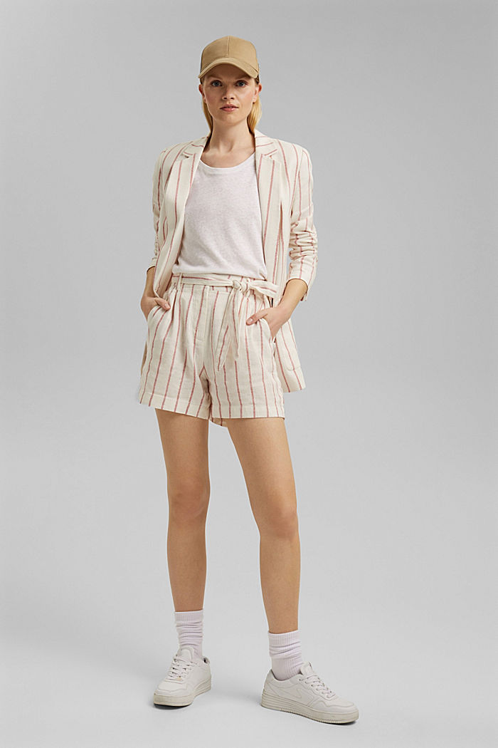 Linen blend: high-waisted shorts with belt, OFF WHITE, detail image number 1