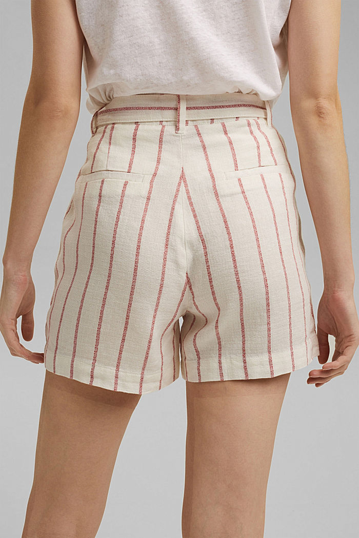 Linen blend: high-waisted shorts with belt, OFF WHITE, detail image number 4
