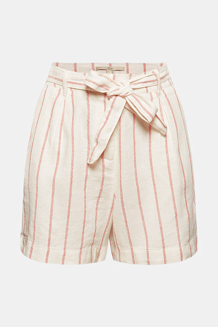 Linen blend: high-waisted shorts with belt, OFF WHITE, detail image number 5