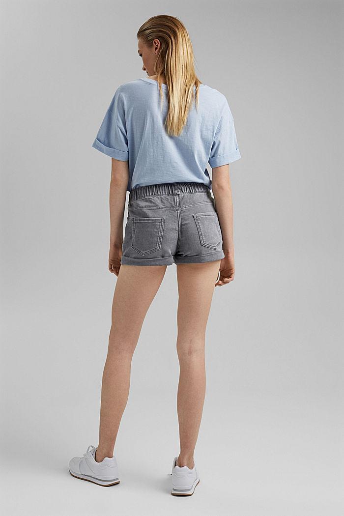 Denim shorts in tracksuit fabric, GREY MEDIUM WASHED, detail image number 3