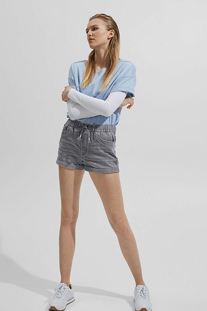 Denim shorts in tracksuit fabric, GREY MEDIUM WASHED, detail image number 1