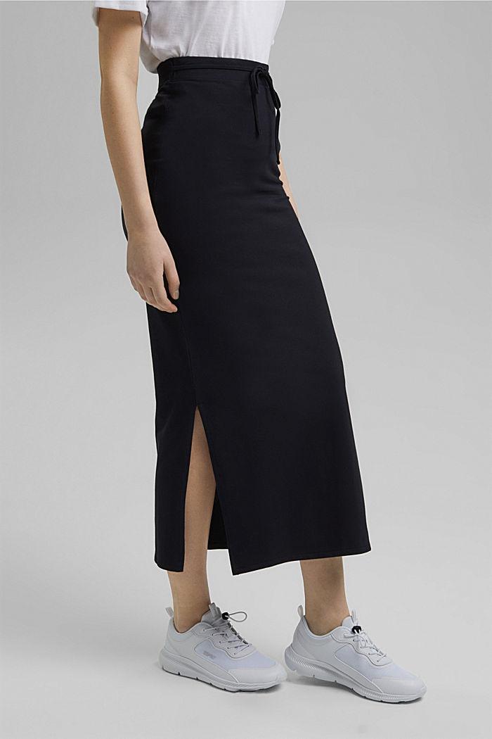 Jersey midi skirt made of organic cotton, BLACK, detail image number 0
