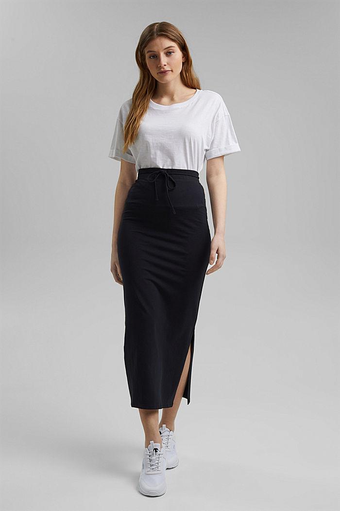 Jersey midi skirt made of organic cotton, BLACK, detail image number 6